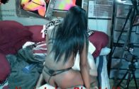 Bella riding me cow-girl ; FIne ass ebony riding big white dick :)